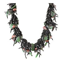 Black Seed Beads Multi-Strand Necklace with Zoisite-Ruby, smaller Zoisite with Rubies and Blister cultured Freshwater Pearls
