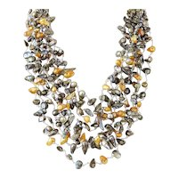 Ten Layers Gemstone Necklace with Blister Green, Golden Yellow cultured Pearls