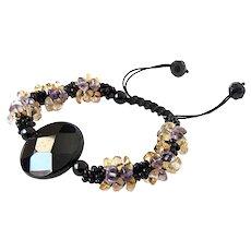 Black Onyx Citrine and Amethyst Bracelet, with Black Seed Beads