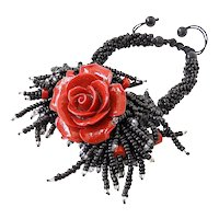 Red Coral Flower Bracelet with Carnelian and Black Seed Beads