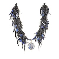 Black Seed Beads Multi-Strand Necklace with Sodalite Tree of Life Pendant, Lapis Lazuli and Blue Lace Agate