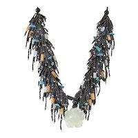 Black Seed Beads Multi-Strand Necklace with Jade Flower Pendant, Moonstone, Yellow Aventurine, Turquoise