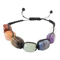 Chakra Seven Gemstone Bracelet with Red Jasper , Orange Jade , Tiger Eye , Green Aventurine , Sodalite , Amethyst , White Crystal.