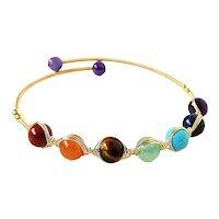 Chakra Gemstones Open Cuff Bracelet Copper Wire Wrap with Amethyst, Sodalite, Turquoise, Tiger Eye, Carnelian, Red Jasper, Green Fluorite