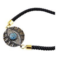 Blue Evil Eye Bracelet on Black Copper Plate with Inlaid Crystals