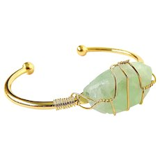 Green Fluorite Gold Plated Copper Wire Wrapped Cuff Bracelet