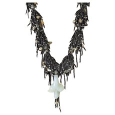Black Seed Beads Multi-Strand Necklace with White Jade Pendant, Yellow Aventurine, Green Blister cultured Pearls