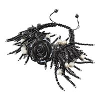 Black Coral Flower Bracelet with Black Seed Beads and cultured White Pearls