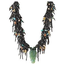 Green Aventurine Carved Leaf Pendant with Black Seed Beads Multi-Strand Necklace with Yellow Aventurine, Bronze cultured Pearls