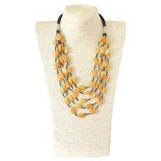 Yellow Jade Five Strand Gemstone Necklace