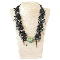 Green Jade Multi-Strand Gemstone Necklace with Black Seed Beads, White Pearls and Green Aventurine