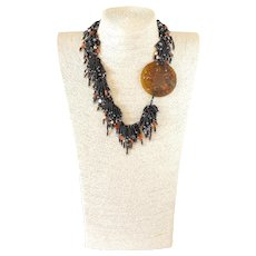 Serpentine Necklace with Clusters of Black Seed Beads, Carnelian, Freshwater Cultured Pearls and Hematite Stars