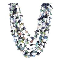 Seven Strand Multi-Color Necklace with Quartz, Green Agate, Blue Goldstone, Pink and Blue Glass Beads