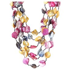 Mother of Pearl Shells in Vibrant Bright Colors Six Strand Gemstone Necklace
