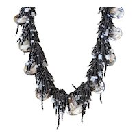 Mother of Pearl Shells Necklace with Black Seed Beads with Grey cultured Freshwater Pearls and Moonstones