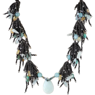 Amazonite Pendant Necklace with Clusters of Black Seed Beads, Turquoise, Aquamarine, Citrine, dyed Blue Agate