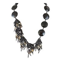 Black Onyx Asymmetrical Necklace with Clusters of Black Seed Beads, Freshwater cultured Pearls, Citrine, Smoky Quartz