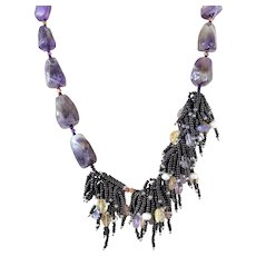 Amethyst Necklace with Clusters of Black Seed Beads, Citrine, White cultured Freshwater Pearls, Amethyst