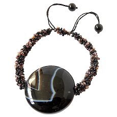 Black Agate Bracelet on Macrame Cord, with Black and Purple Seed Beads