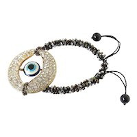 Blue Evil Eye and Crystals Bracelet with Black Bronze Silver Seed Beads Woven into Adjustable Macrame Cord