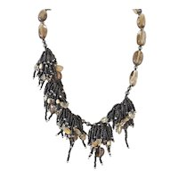 Smoky Quartz Asymmetrical Necklace with Black Seed Beads, Citrine, Hematite and cultured Pearls