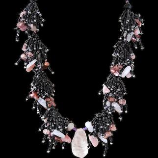 Rose Quartz Pendant Necklace with Black Seed Beads, Rose Quartz, Blister cultured Freshwater Pearls, Rhodochrosite