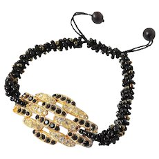 Bracelet with Golden Plate covered with Black and Clear Crystals, Macrame Cord with Woven in Black and Bronze Seed Beads