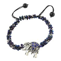 Elephant Bracelet with Howdah(seat) with Blue Crystals and Blue Seed Beads on Adjustable Macrame