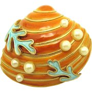 Rare 1965 CROWN TRIFARI Under the Sea Collection Oyster Seashell Brooch