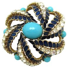 CINER Faux Glass Turquoise Cabs Enamel Crystal Rhinestones Dimensional Brooch