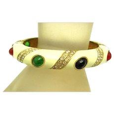 CINER 'Jewels of India' Bracelet Colorful Cabochons Enamel Crystal Rhinestones