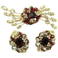 HATTIE CARNEGIE Set Red and Clear Crystal Rhinestones Starburst Brooch Earrings