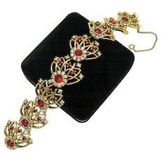 Vintage JOMAZ Link Bracelet Red Crystal Rhinestones Fabulous!