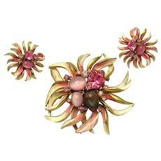 RARE FRANCOIS (CORO) Enameled Set Brooch Earrings Unique Sapphirine Cabochon