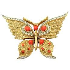 Vintage CROWN TRIFARI Coral Cabs Butterfly Brooch Crystal Rhinestones