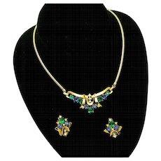 CROWN TRIFARI Jeweled Symphony Set PatPend Necklace Earrings