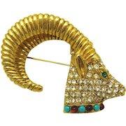 RICHELIEU Aries the Ram Figural Head Brooch Crystal Rhinestones Huge Horns!