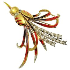 ULTRA RARE CORO CRAFT Sterling Stylized HUMMINGBIRD Brooch Rhinestones Enamel