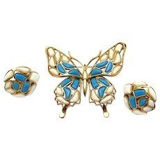 CROWN TRIFARI 1960s Modern Mosaics Figural Butterfly Brooch and Earrings