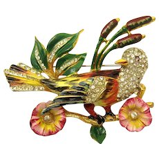 RARE CORO CRAFT Sterling Bird & Flowers Brooch Enamel Rhinestones Beautiful!