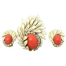 JOMAZ Floral Set Brooch Earrings Faux Coral Cabochons Enamel Rhinestones