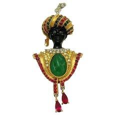 Rare BOUCHER Blackamoor with Turban Inset Faux Jade Ruby Pendants Brooch Pin