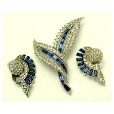 Vintage BOUCHER Set Brooch Earrings Blue Baguettes Crystal Rhinestones - Red Tag Sale Item
