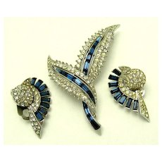 Vintage BOUCHER Set Brooch Earrings Blue Baguettes Crystal Rhinestones