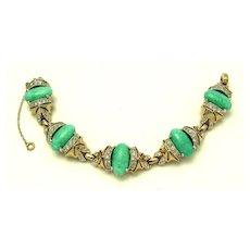 REJA Signed Jade Art Glass Cabochons Crystal Rhinestone Link Bracelet