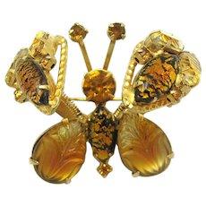 Vintage SCHREINER Unsigned Trembler Butterfly Brooch Art Glass