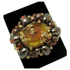 RARE and Unique ALICE CAVINESS Art Glass Jeweled Rhinestone Vintage Brooch Pin