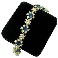 CINER 1950s Bracelet Sapphire and Clear Crystal Rhinestones 'The Look of Real'