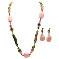MIRIAM HASKELL 1950's Set Necklace Earrings Pink and Green Art Glass