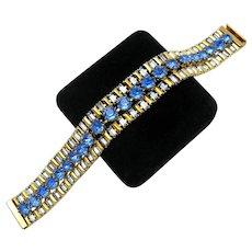 Gorgeous HATTIE CARNEGIE 1940s Bracelet Crystal Rhinestones Unique Gold Stones